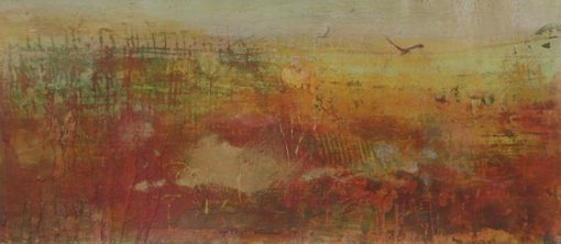 'Autumn's approach.' Mixed media on sandpaper.  A4 mounted.