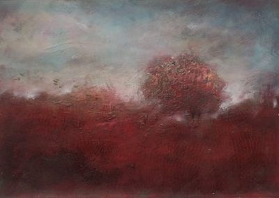 Jo Wade. 'Fleeting days.' Mixed media on paper. A4 mounted.