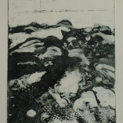 "'The ebb & flow.' Copperplate etching in editions of 12. 10"" x 12"" mounted."