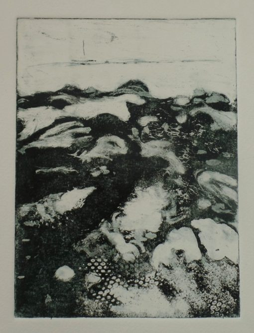 """'The ebb & flow.' Copperplate etching in editions of 12. 10"""" x 12"""" mounted."""
