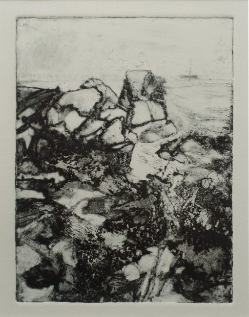 "'In the distance.' Copperplate etching. 10"" x 12"" mounted."
