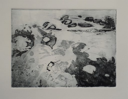 Jo Wade. 'Lost in the moment.' Sugar lift copper plate etching. 10' x 12' mounted.