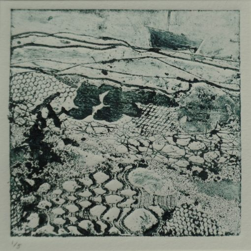 "'Flotsam & Jetsam.' collagraph print. 1 of an edition of 5. 8"" x 8"" mounted."